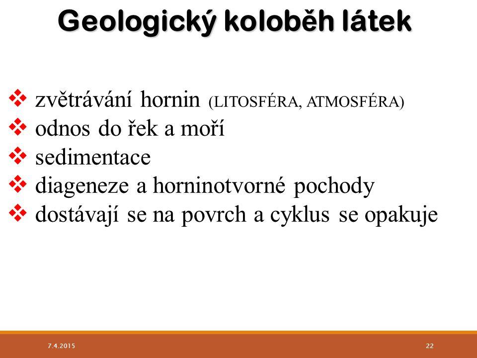 Geologický kolob ě h látek  zvětrávání hornin (LITOSFÉRA, ATMOSFÉRA)  odnos do řek a moří  sedimentace  diageneze a horninotvorné pochody  dostáv