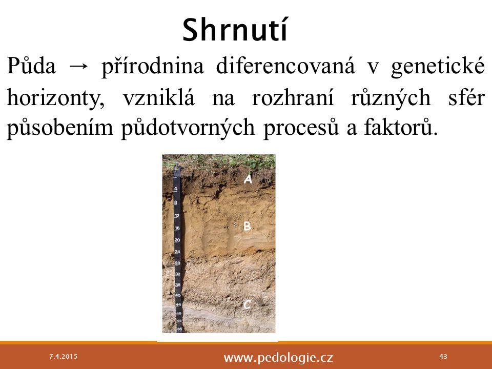 Půda → přírodnina diferencovaná v genetické horizonty, vzniklá na rozhraní různých sfér působením půdotvorných procesů a faktorů. 7.4.2015 43 Shrnutí