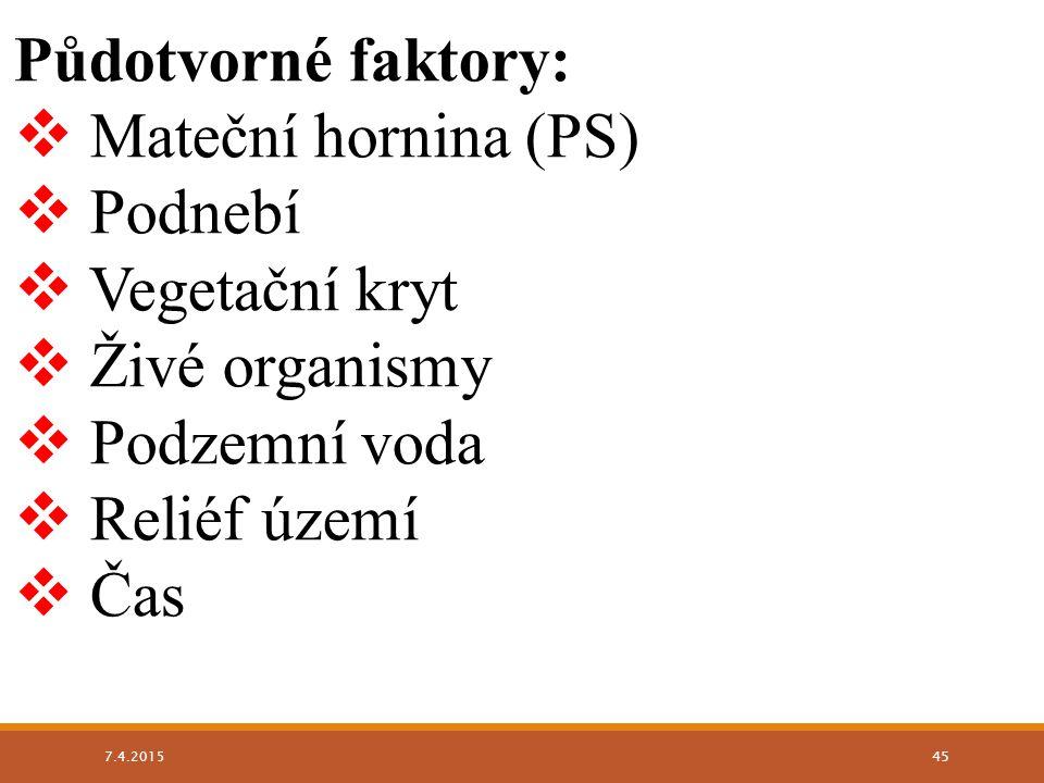 Půdotvorné faktory:  Mateční hornina (PS)  Podnebí  Vegetační kryt  Živé organismy  Podzemní voda  Reliéf území  Čas 7.4.2015 45