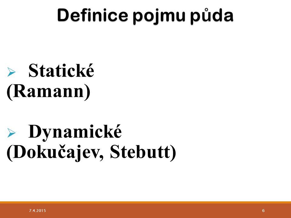  Statické (Ramann)  Dynamické (Dokučajev, Stebutt) 7.4.2015 6