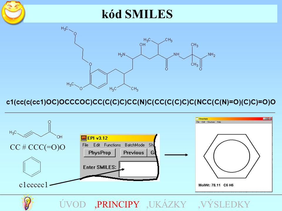 kód SMILES,UKÁZKY,PRINCIPYÚVOD c1(cc(c(cc1)OC)OCCCOC)CC(C(C)C)CC(N)C(CC(C(C)C)C(NCC(C(N)=O)(C)C)=O)O CC # CCC(=O)O c1ccccc1,VÝSLEDKY