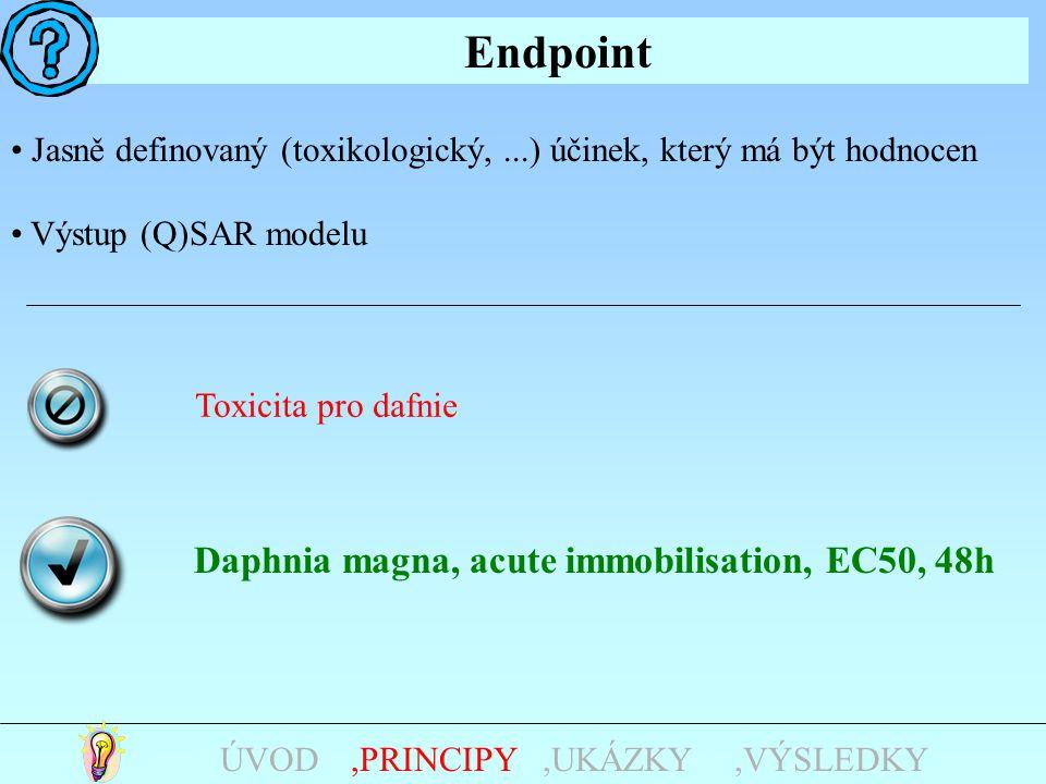 Endpoint,UKÁZKY,PRINCIPYÚVOD Jasně definovaný (toxikologický,...) účinek, který má být hodnocen Výstup (Q)SAR modelu Toxicita pro dafnie Daphnia magna, acute immobilisation, EC50, 48h,VÝSLEDKY