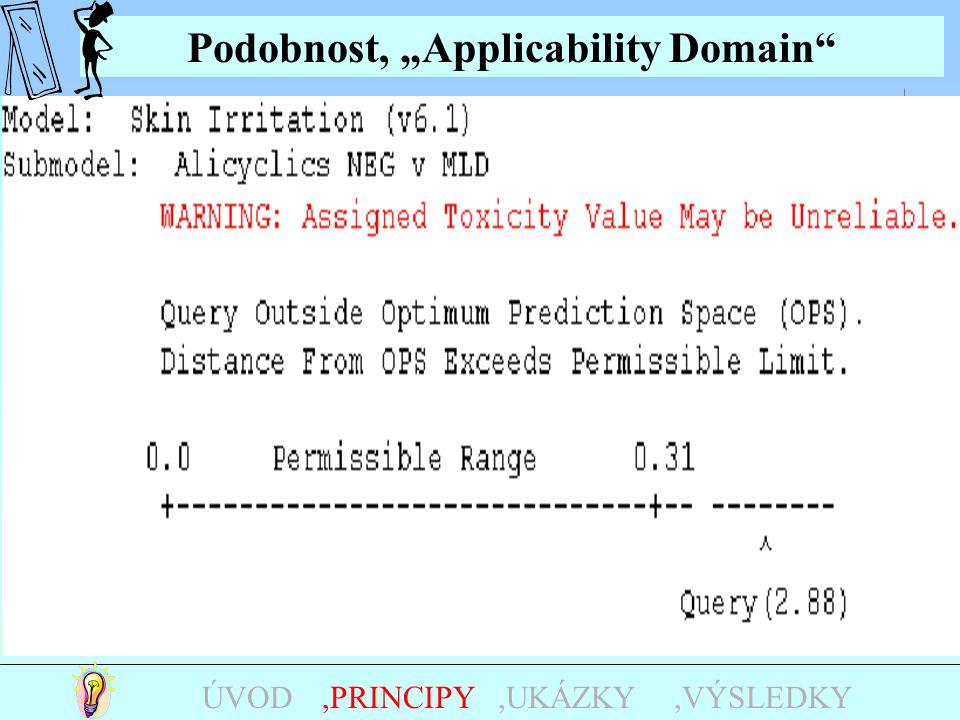 """Podobnost, """"Applicability Domain"""",UKÁZKY,PRINCIPYÚVOD Negativní AMES --- MUTAGENITA KARCINOGENITA Positivní AMES věta R45 Log Pow2.722.69 QSAR : """"Appl"""