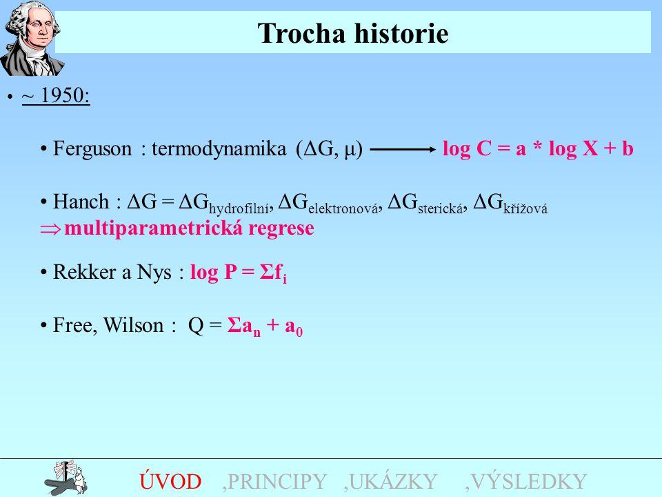 Trocha historie,UKÁZKY,PRINCIPYÚVOD ~ 1950: Ferguson : termodynamika (ΔG, μ) log C = a * log X + b Hanch : ΔG = ΔG hydrofilní, ΔG elektronová, ΔG sterická, ΔG křížová  multiparametrická regrese Rekker a Nys : log P = Σf i Free, Wilson : Q = Σa n + a 0,VÝSLEDKY