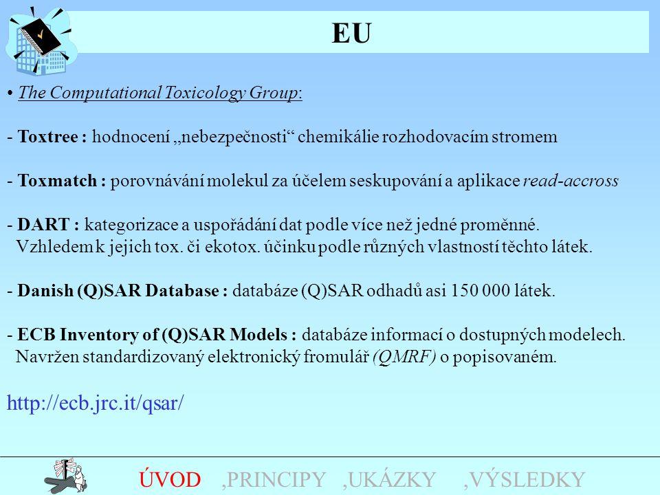 "EU,UKÁZKY,PRINCIPYÚVOD The Computational Toxicology Group: - Toxtree : hodnocení ""nebezpečnosti"" chemikálie rozhodovacím stromem - Toxmatch : porovnáv"