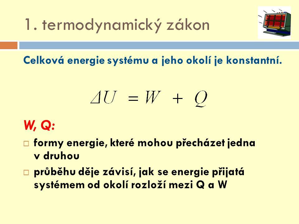 1. termodynamický zákon Celková energie systému a jeho okolí je konstantní. W, Q:  formy energie, které mohou přecházet jedna v druhou  průběhu děje