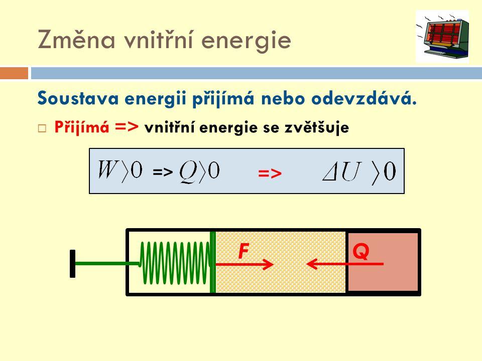 Změna vnitřní energie Soustava energii přijímá nebo odevzdává.  Přijímá => vnitřní energie se zvětšuje => FQ