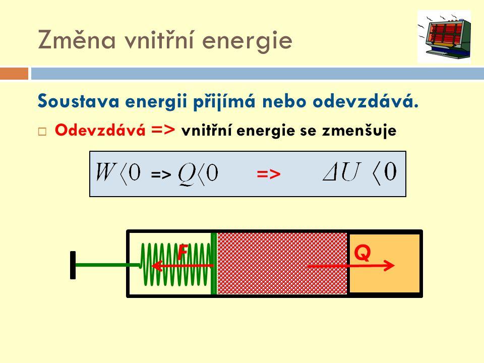 Změna vnitřní energie Soustava energii přijímá nebo odevzdává.  Odevzdává => vnitřní energie se zmenšuje => FQ