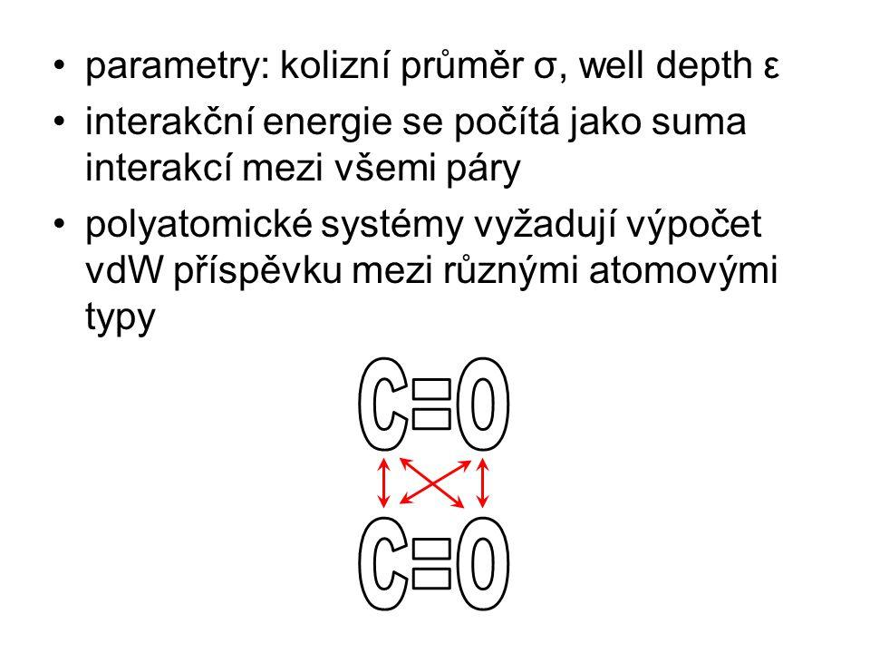 parametry: kolizní průměr σ, well depth ε interakční energie se počítá jako suma interakcí mezi všemi páry polyatomické systémy vyžadují výpočet vdW příspěvku mezi různými atomovými typy