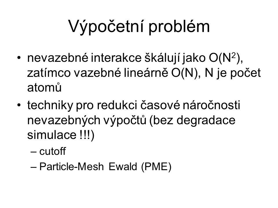 Výpočetní problém nevazebné interakce škálují jako O(N 2 ), zatímco vazebné lineárně O(N), N je počet atomů techniky pro redukci časové náročnosti nevazebných výpočtů (bez degradace simulace !!!) –cutoff –Particle-Mesh Ewald (PME)