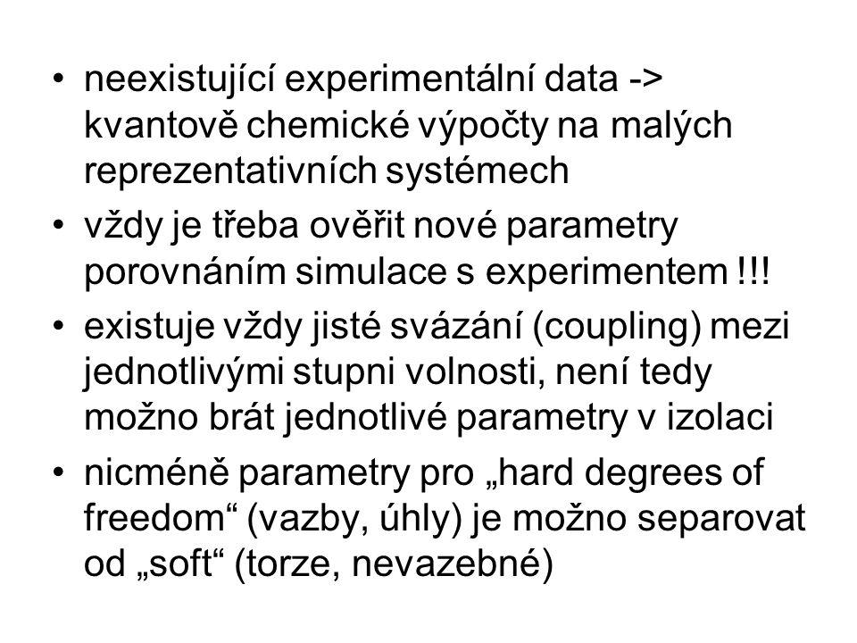 neexistující experimentální data -> kvantově chemické výpočty na malých reprezentativních systémech vždy je třeba ověřit nové parametry porovnáním simulace s experimentem !!.