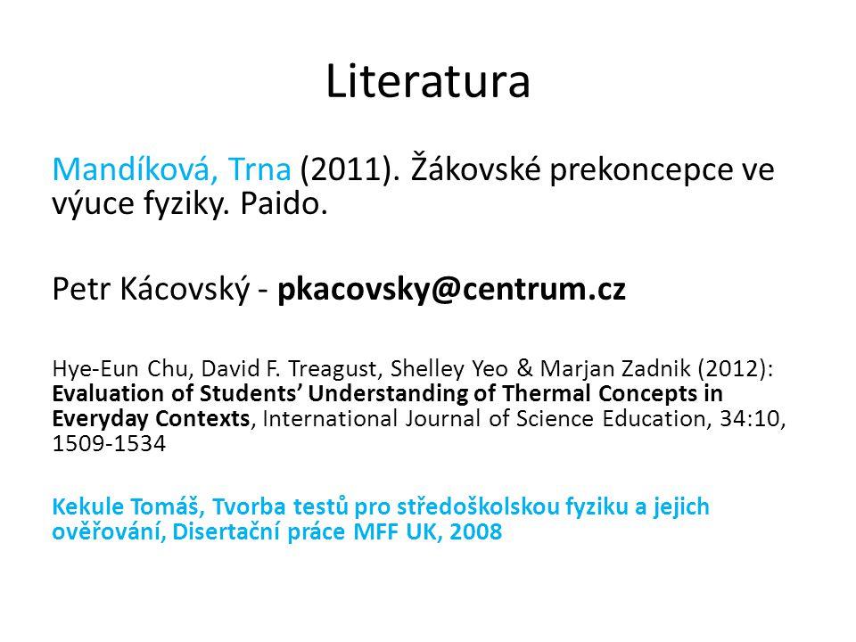 Literatura Mandíková, Trna (2011). Žákovské prekoncepce ve výuce fyziky. Paido. Petr Kácovský - pkacovsky@centrum.cz Hye-Eun Chu, David F. Treagust, S