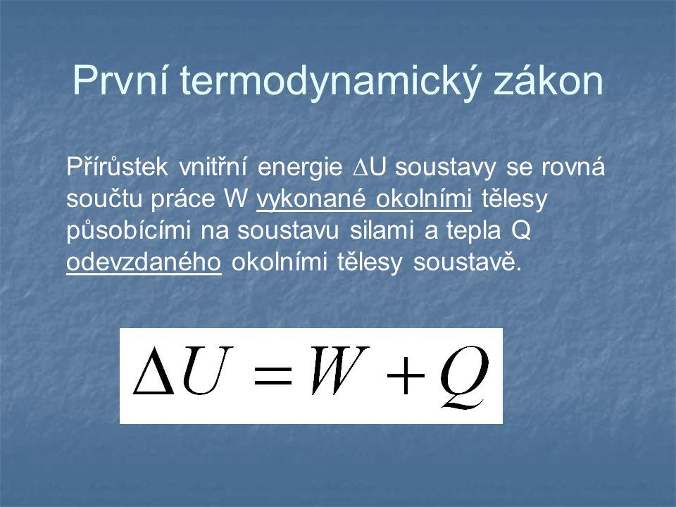 První termodynamický zákon Přírůstek vnitřní energie  U soustavy se rovná součtu práce W vykonané okolními tělesy působícími na soustavu silami a tep