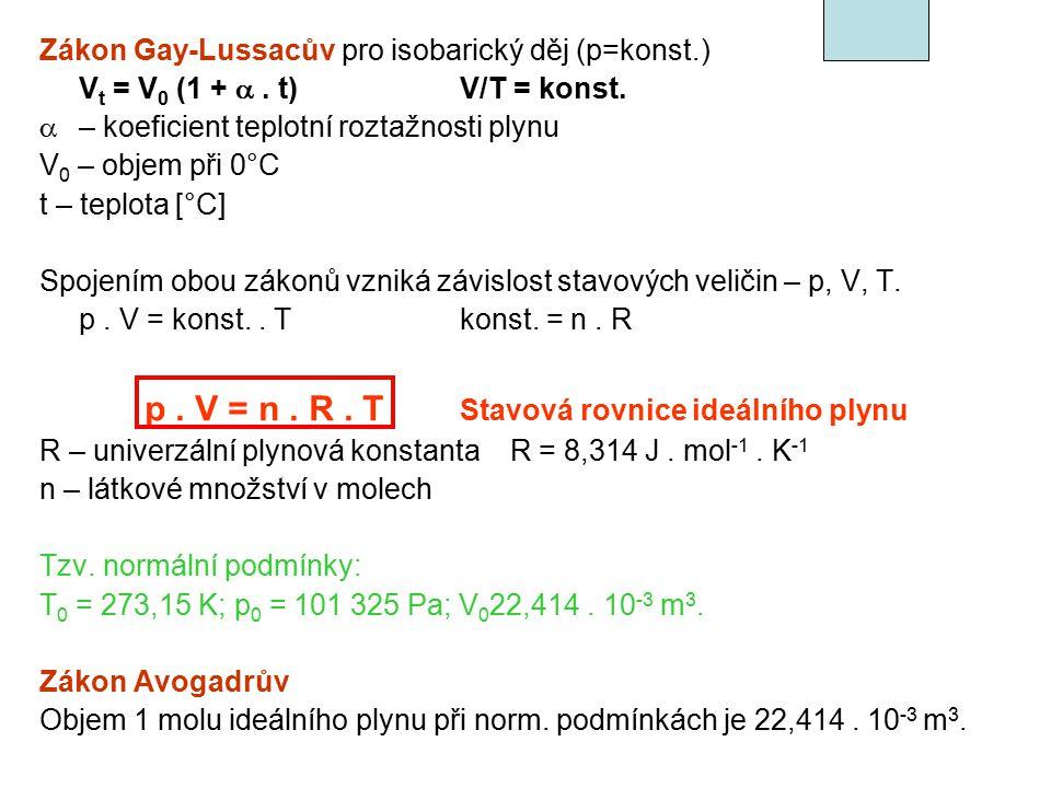 Plynné směsi n 1 + n 2 +………+ n i = n parciální tlak i-té složky – p i p i = n i.