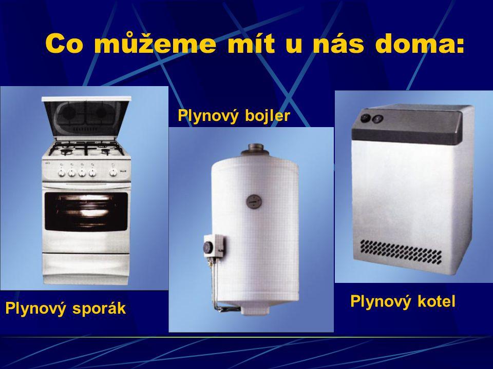 Co můžeme mít u nás doma: Plynový sporák Plynový bojler Plynový kotel