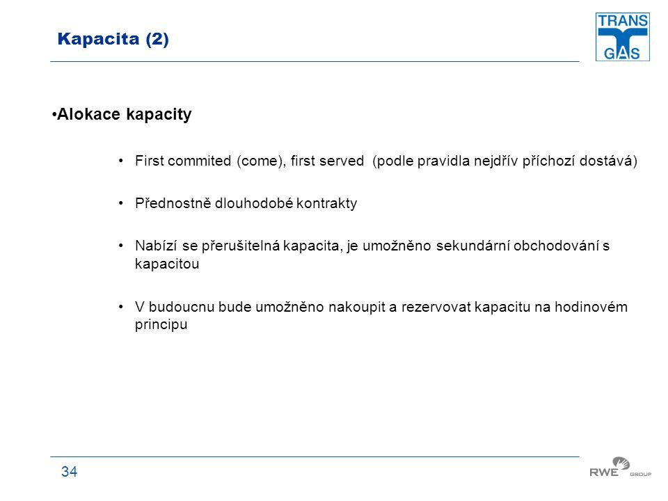 34 Kapacita (2) Alokace kapacity First commited (come), first served (podle pravidla nejdřív příchozí dostává) Přednostně dlouhodobé kontrakty Nabízí