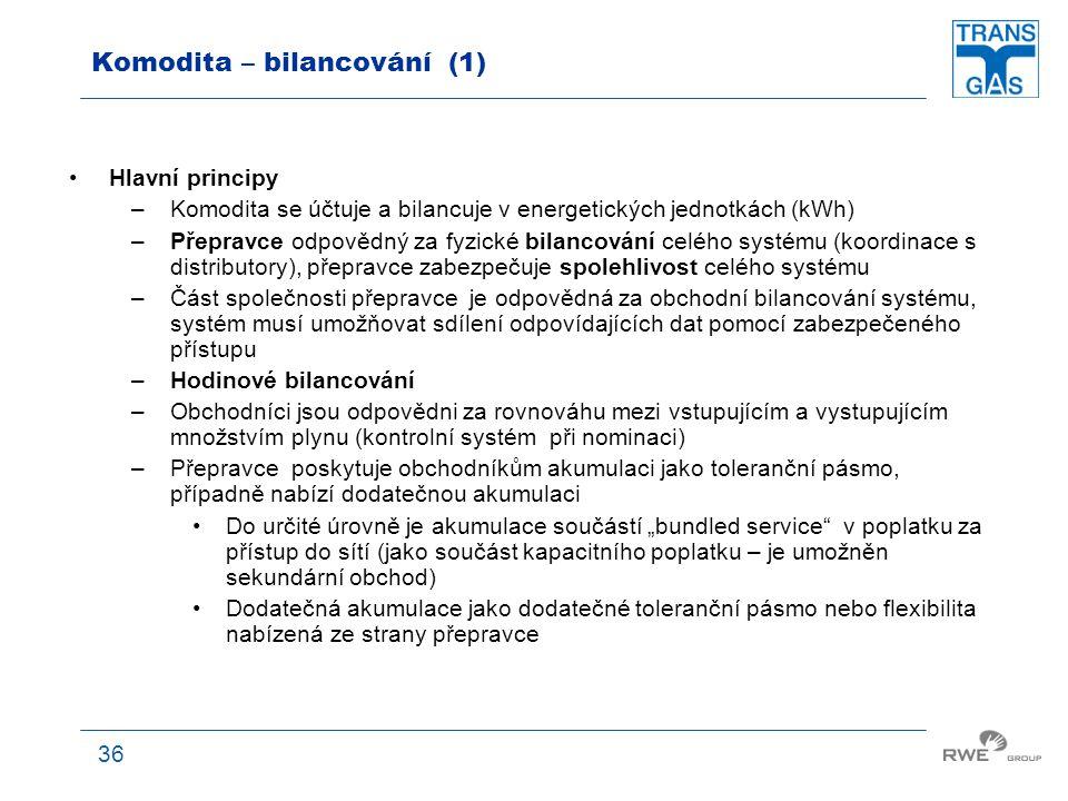 36 Komodita – bilancování (1) Hlavní principy –Komodita se účtuje a bilancuje v energetických jednotkách (kWh) –Přepravce odpovědný za fyzické bilanco