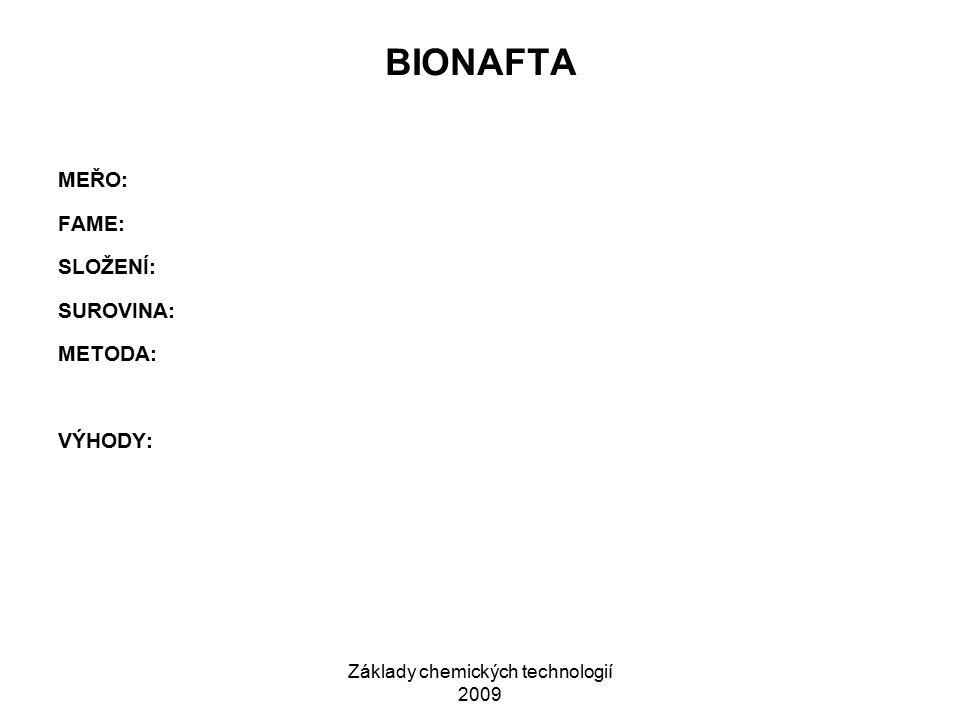 Základy chemických technologií 2009 BIONAFTA MEŘO: FAME: SLOŽENÍ: SUROVINA: METODA: VÝHODY: