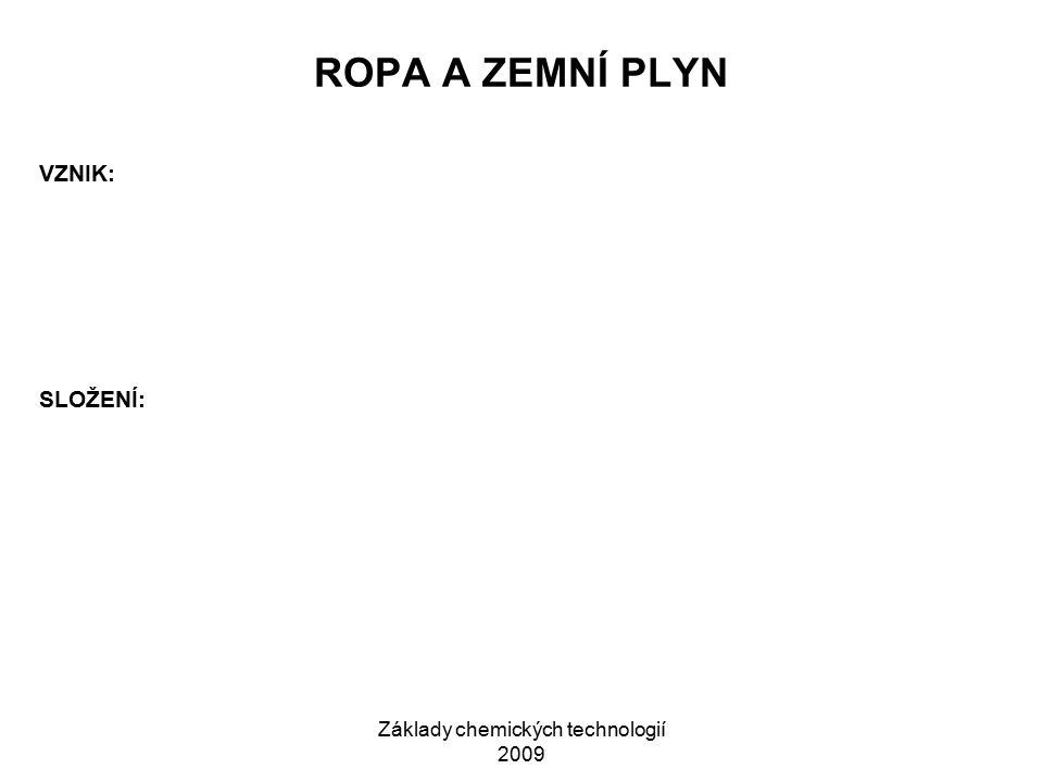 Základy chemických technologií 2009 ROPA A ZEMNÍ PLYN VZNIK: SLOŽENÍ: