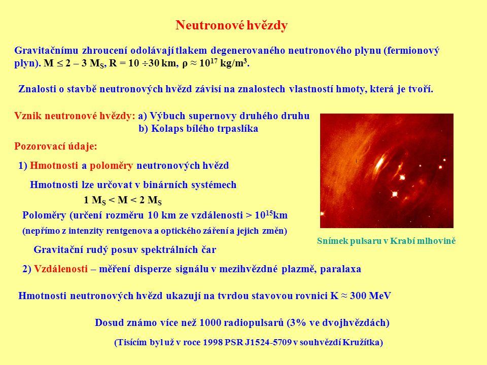 Neutronové hvězdy Gravitačnímu zhroucení odolávají tlakem degenerovaného neutronového plynu (fermionový plyn). M  2 – 3 M S, R = 10  30 km, ρ ≈ 10 1