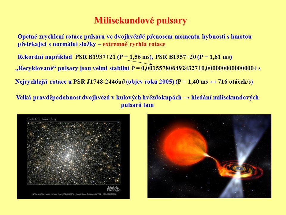 Milisekundové pulsary Rekordní například PSR B1937+21 (P = 1,56 ms), PSR B1957+20 (P = 1,61 ms) Nejrychlejší rotace u PSR J1748-2446ad (objev roku 200
