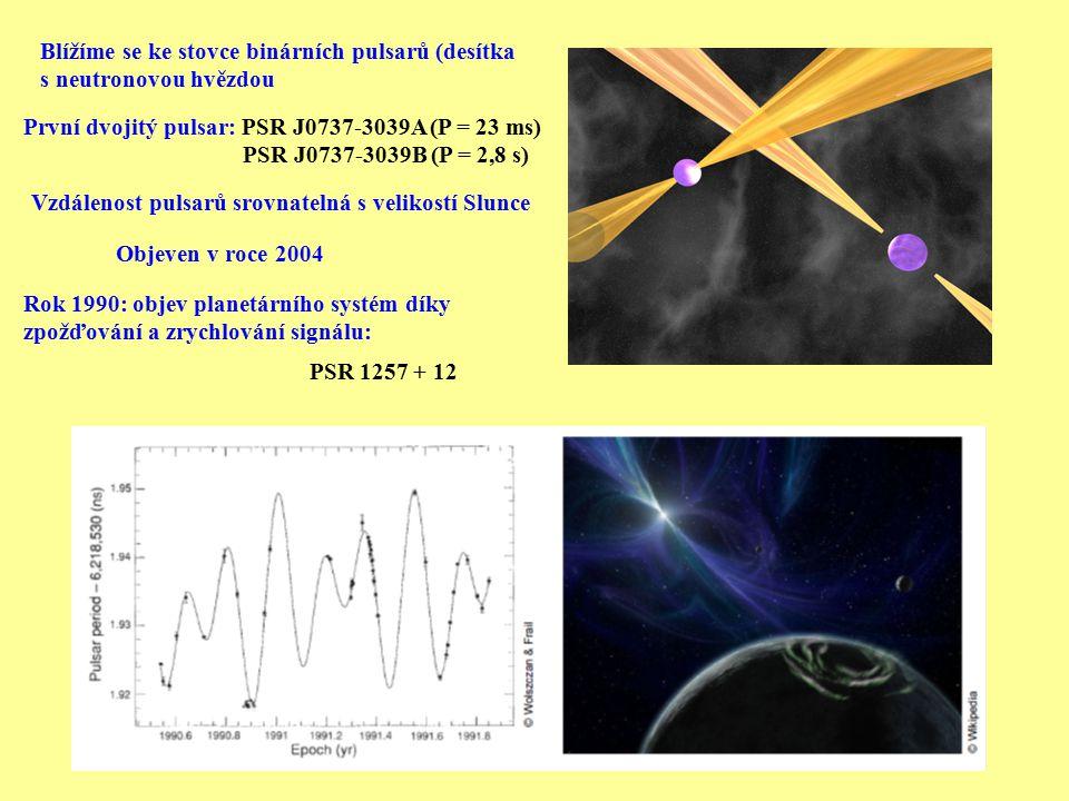 První dvojitý pulsar: PSR J0737-3039A (P = 23 ms) PSR J0737-3039B (P = 2,8 s) Objeven v roce 2004 Vzdálenost pulsarů srovnatelná s velikostí Slunce Ro