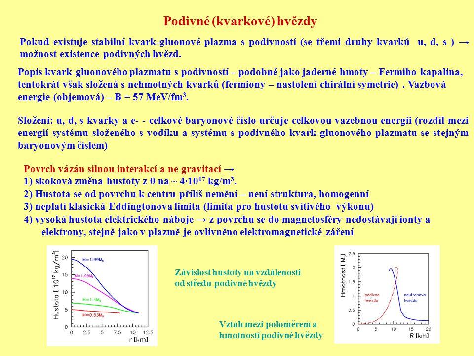 Podivné (kvarkové) hvězdy Pokud existuje stabilní kvark-gluonové plazma s podivností (se třemi druhy kvarků u, d, s ) → možnost existence podivných hv