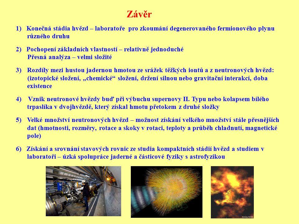 Závěr 1) Konečná stádia hvězd – laboratoře pro zkoumání degenerovaného fermionového plynu různého druhu 2) Pochopení základních vlastností – relativně