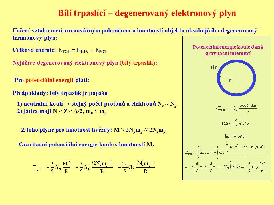Určení vztahu mezi rovnovážným poloměrem a hmotností objektu obsahujícího degenerovaný fermionový plyn: Celková energie: E TOT = E KIN + E POT Nejdřív