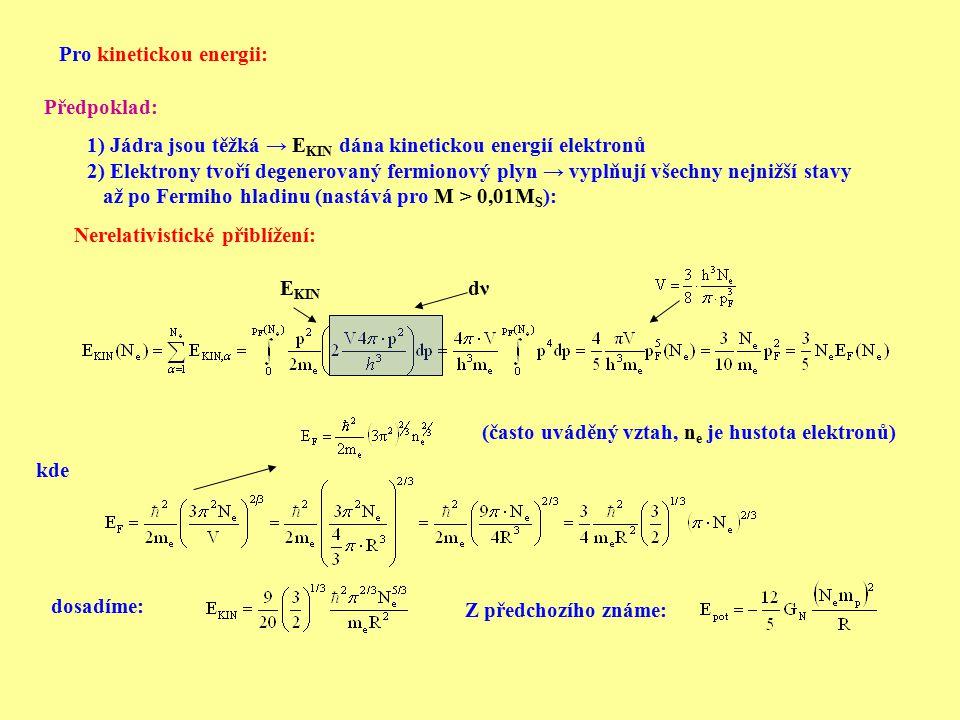 Potom celokově E TOT : Velikost poloměru určíme jako minimum v závislosti energie na poloměru: odtud: Vyjádříme poloměr: V nerelativistickém přiblížení je tedy závislost mezi poloměrem a hmotností: R= f(M -1/3 ) Platí tedy V  M = konst