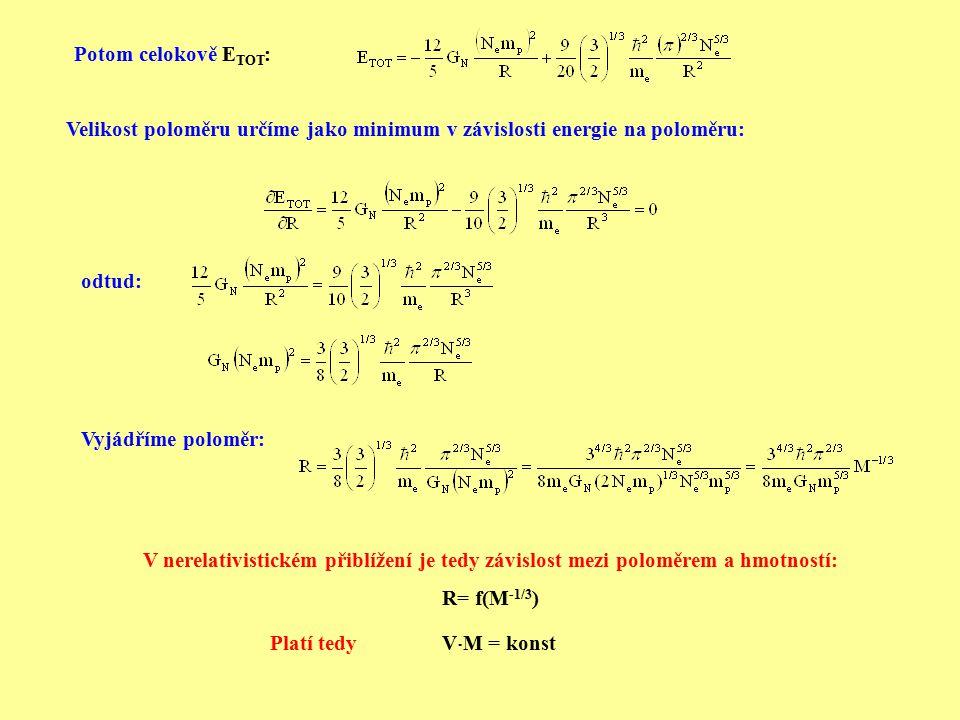 Potom celokově E TOT : Velikost poloměru určíme jako minimum v závislosti energie na poloměru: odtud: Vyjádříme poloměr: V nerelativistickém přiblížen