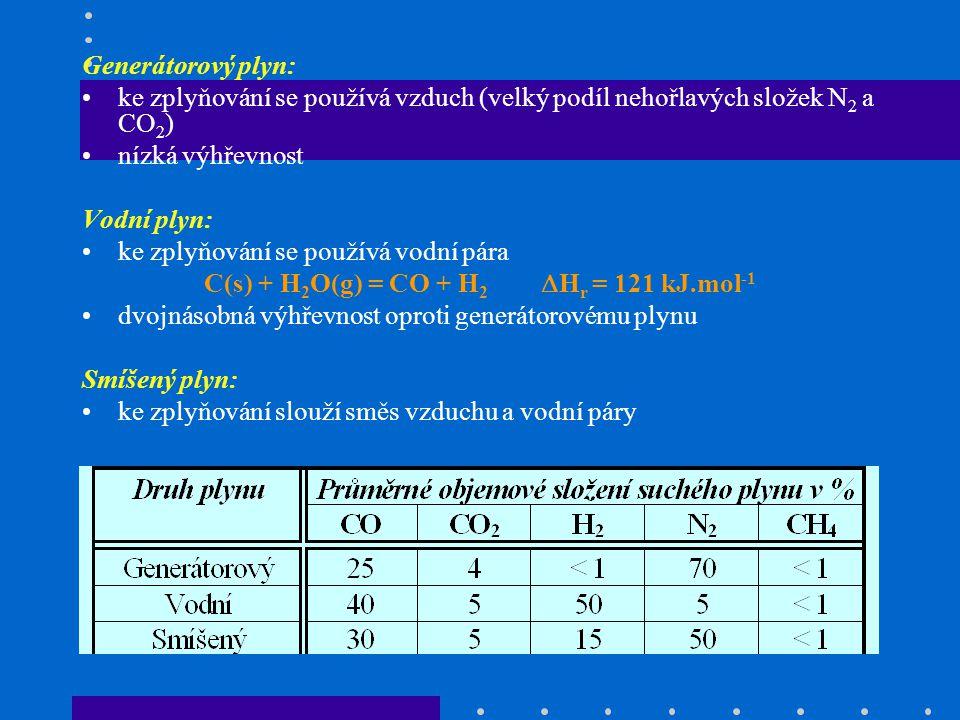 Vysokopecní plyn: vedlejší produkt při výrobě surového železa slouží jako topný plyn Koksárenský plyn: vedlejší produkt karbonizace černého uhlí vysoký obsah H 2 a uhlovodíků – vysoká výhřevnost Syntézní plyn: ke zplyňování slouží směs vodní páry a kyslíku, má nízký obsah N 2 slouží k výrobě amoniaku a syntetických pohonných látek Svítiplyn: hlavní produkt karbonizace černého uhlí v plynárnách