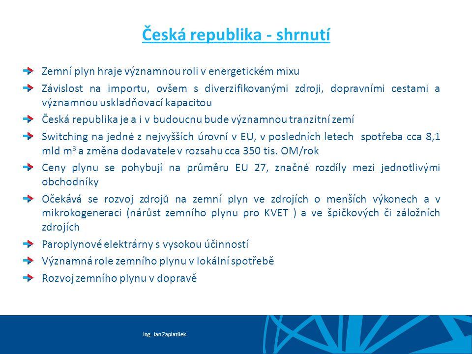 Ing. Jan Zaplatílek Česká republika - shrnutí Zemní plyn hraje významnou roli v energetickém mixu Závislost na importu, ovšem s diverzifikovanými zdro