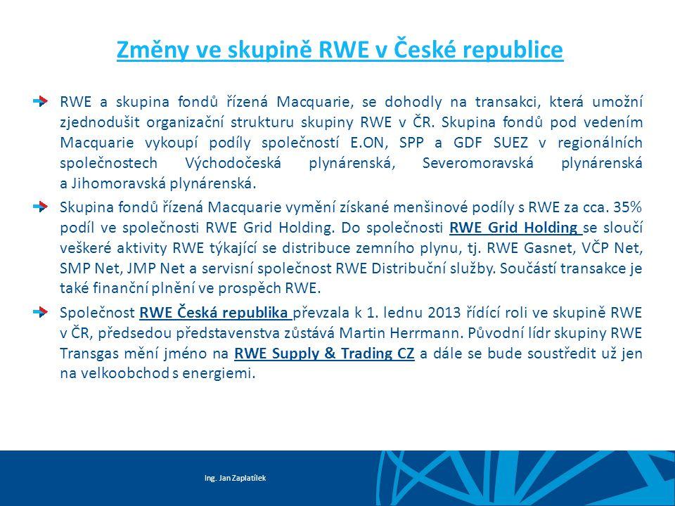 Ing. Jan Zaplatílek Změny ve skupině RWE v České republice RWE a skupina fondů řízená Macquarie, se dohodly na transakci, která umožní zjednodušit org