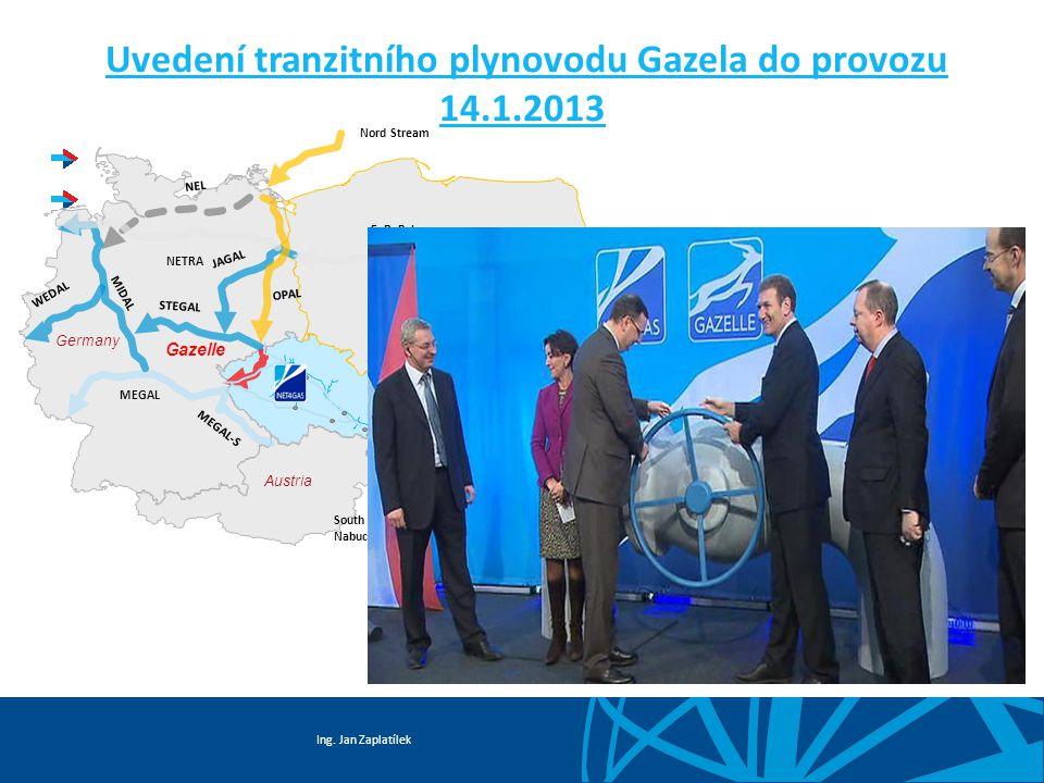 Ing. Jan Zaplatílek Uvedení tranzitního plynovodu Gazela do provozu 14.1.2013 NETRA STEGAL JAGAL MEGAL MEGAL-S MIDAL WEDAL NEL Gazelle South Stream /