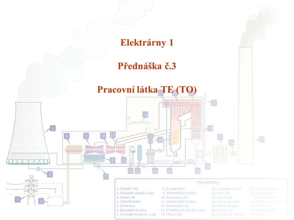 Elektrárny 1 Přednáška č.3 Pracovní látka TE (TO)