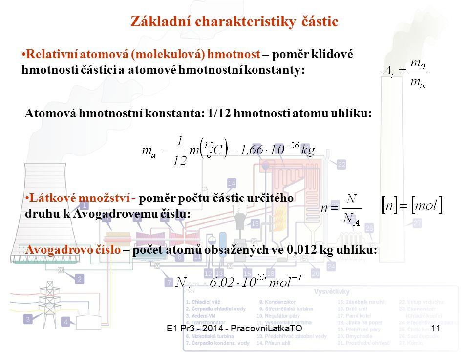 E1 Pr3 - 2014 - PracovniLatkaTO11 Základní charakteristiky částic Relativní atomová (molekulová) hmotnost – poměr klidové hmotnosti částici a atomové