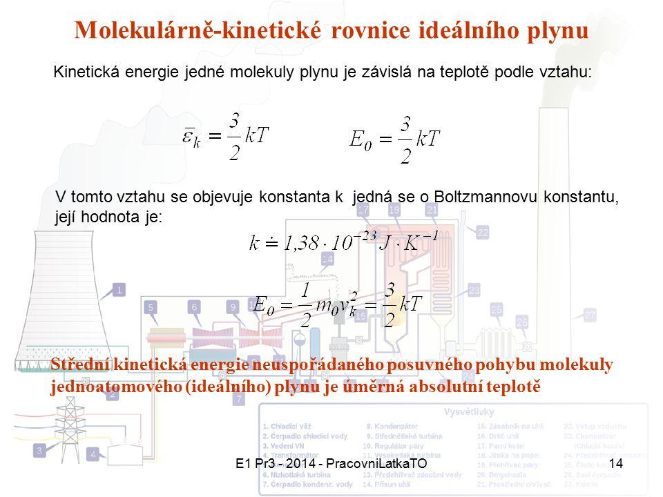 E1 Pr3 - 2014 - PracovniLatkaTO14 Molekulárně-kinetické rovnice ideálního plynu Kinetická energie jedné molekuly plynu je závislá na teplotě podle vzt