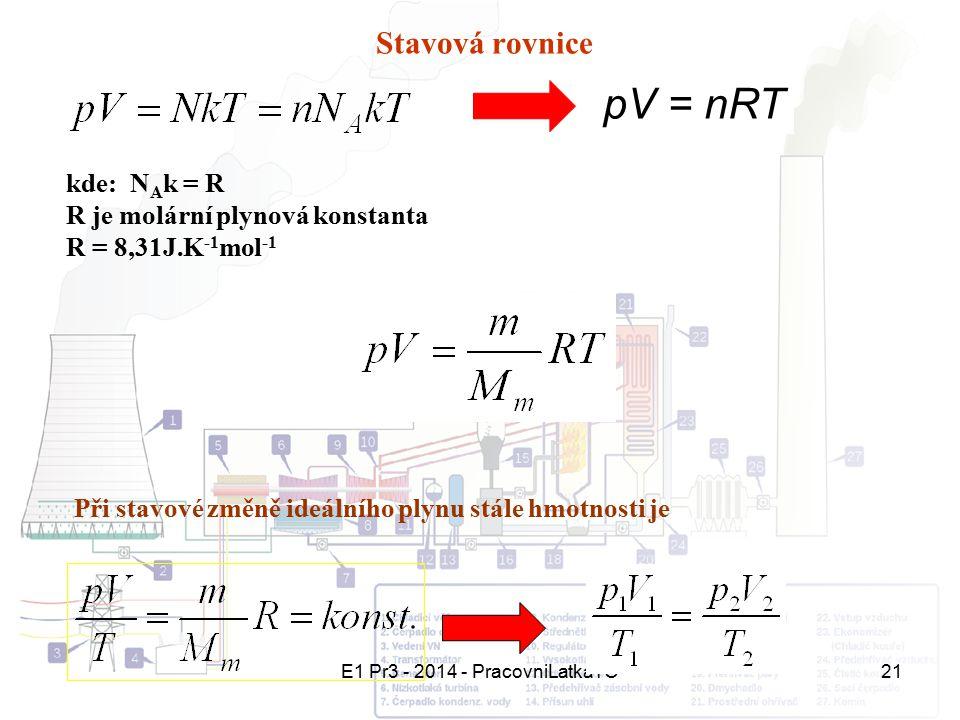E1 Pr3 - 2014 - PracovniLatkaTO21 Stavová rovnice pV = nRT kde: N A k = R R je molární plynová konstanta R = 8,31J.K -1 mol -1 Při stavové změně ideál