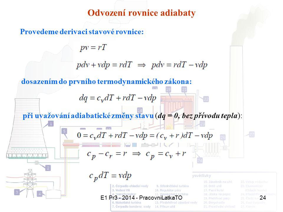 E1 Pr3 - 2014 - PracovniLatkaTO24 Odvození rovnice adiabaty Provedeme derivaci stavové rovnice: dosazením do prvního termodynamického zákona: při uvaž