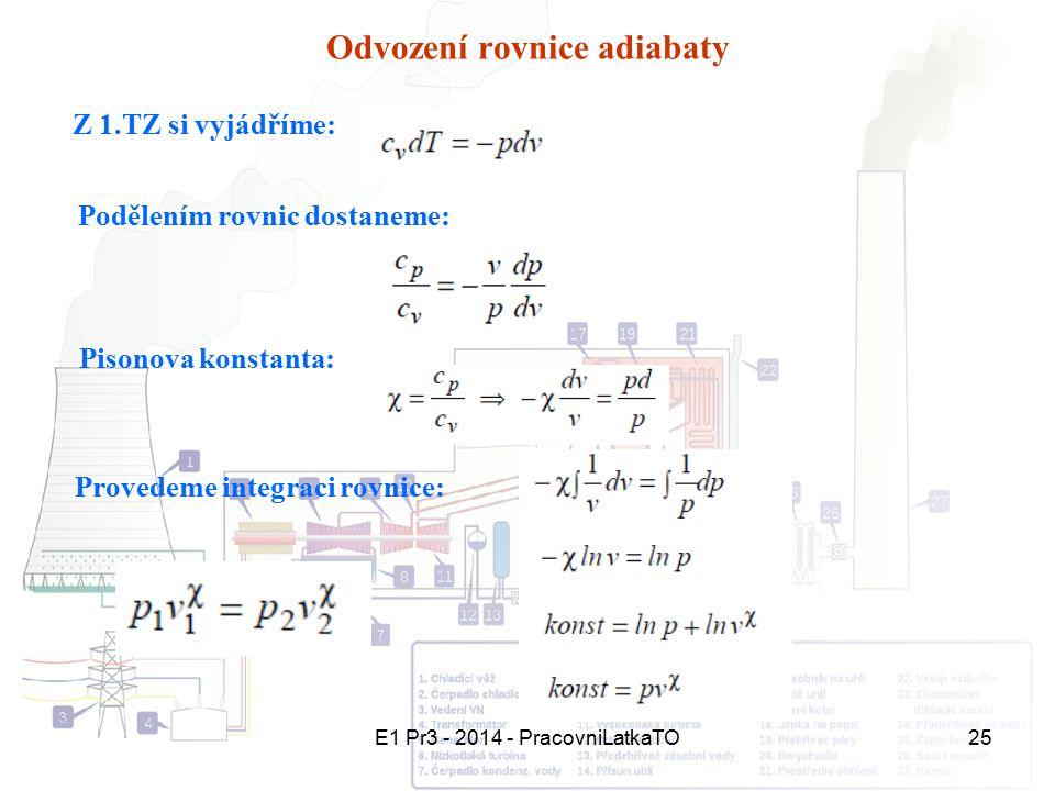 E1 Pr3 - 2014 - PracovniLatkaTO25 Odvození rovnice adiabaty Z 1.TZ si vyjádříme: Podělením rovnic dostaneme: Pisonova konstanta: Provedeme integraci r