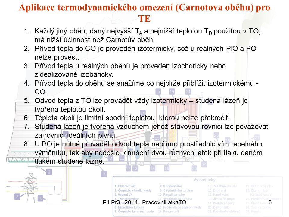 E1 Pr3 - 2014 - PracovniLatkaTO5 Aplikace termodynamického omezení (Carnotova oběhu) pro TE 1.Každý jiný oběh, daný nejvyšší T A a nejnižší teplotou T