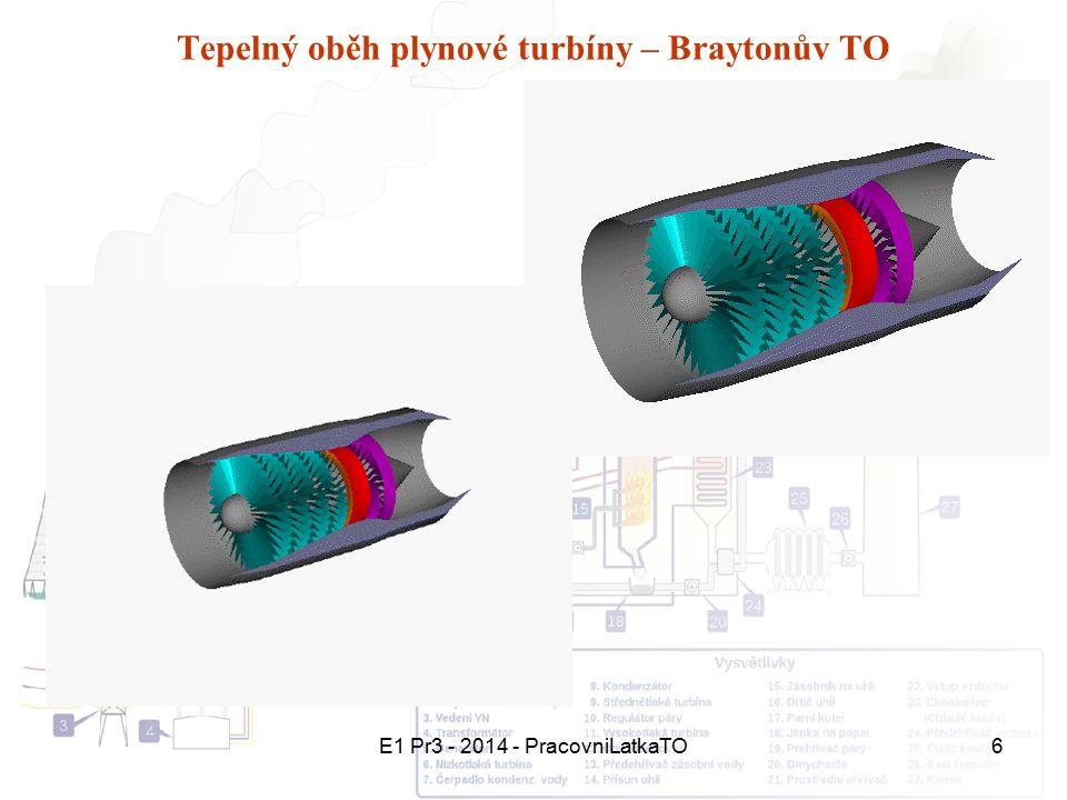 E1 Pr3 - 2014 - PracovniLatkaTO6 Tepelný oběh plynové turbíny – Braytonův TO