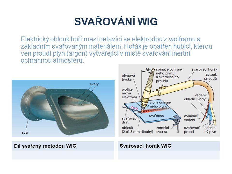 SVAŘOVÁNÍ WIG Díl svařený metodou WIGSvařovací hořák WIG Elektrický oblouk hoří mezi netavící se elektrodou z wolframu a základním svařovaným materiálem.