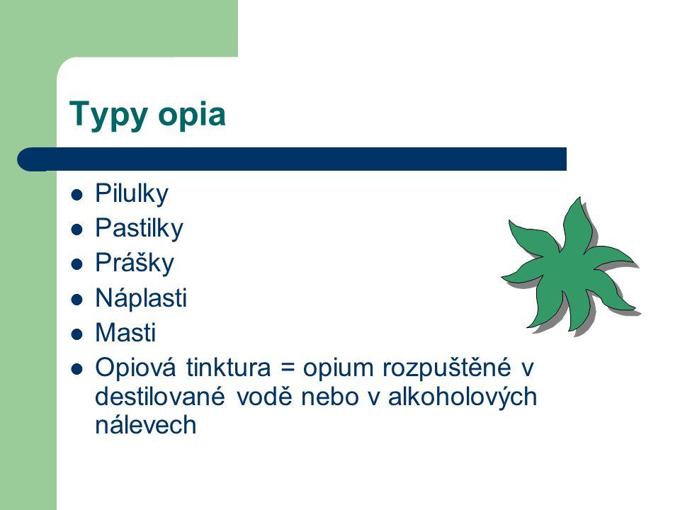 Prodej opia Bylo k dostání stejně běžně jako jiné drogy Odpovědný prodej- na lékařské předpisy Neodpovědný prodej- prodej i dětem Neodpovědně se prodá