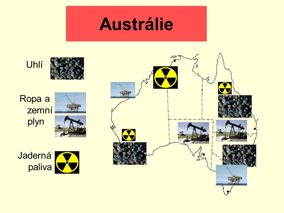 Austrálie Uhlí Ropa a zemní plyn Jaderná paliva