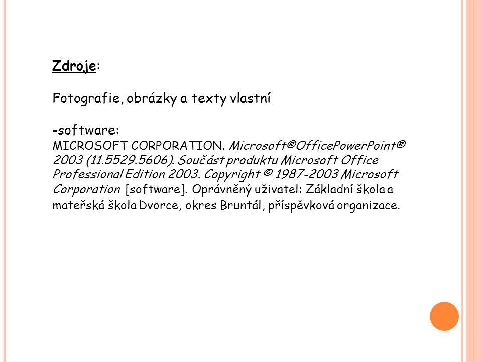 Zdroje: Fotografie, obrázky a texty vlastní -software: MICROSOFT CORPORATION.