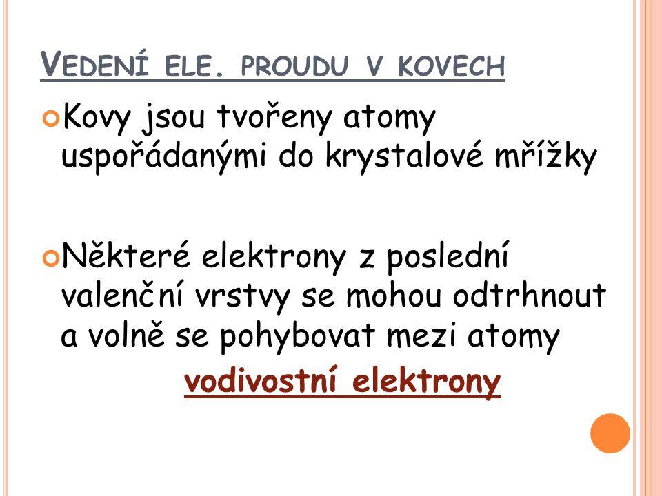Elektrický proud v kovovém vodiči je tvořen usměrněným pohybem vodivostních elektronů.