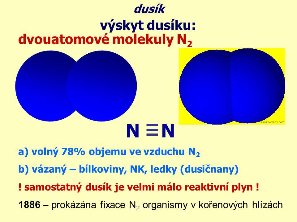výskyt dusíku: dusík dvouatomové molekuly N 2 N a) volný 78% objemu ve vzduchu N 2 b) vázaný – bílkoviny, NK, ledky (dusičnany) ! samostatný dusík je