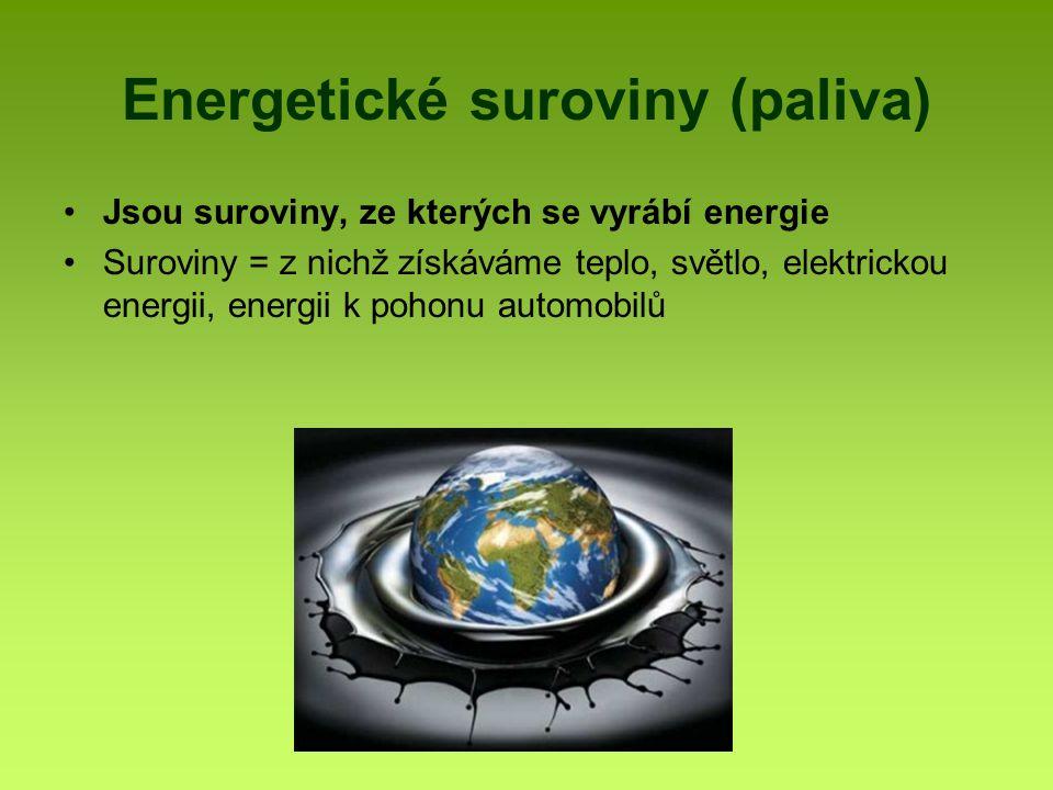 Energetické suroviny Pevná – černé a hnědé uhlí Kapalná – ropa Plynná – zemní plyn